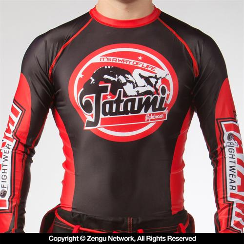Tatami Tatami Fightwear GenX Black and Red Long Sleeve Rashguard